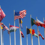 National flags on the masts. The flags of the United States, Germany, Belgium, Italia,Israel, Turkey